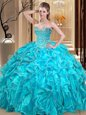New Style Aqua Blue Sweetheart Neckline Beading and Ruffles Vestidos de Quinceanera Sleeveless Lace Up