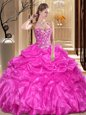 Pretty Fuchsia Sleeveless Floor Length Embroidery and Ruffles Lace Up Quinceanera Dress
