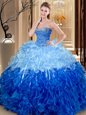Inexpensive Floor Length Lace Up Quinceanera Dress Multi-color and In for Military Ball and Sweet 16 and Quinceanera with Beading and Ruffles