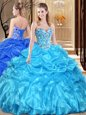Lace and Appliques Quince Ball Gowns Aqua Blue Lace Up Sleeveless Floor Length