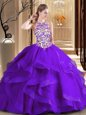Dynamic Scoop Sleeveless Embroidery Lace Up 15th Birthday Dress with Purple Brush Train