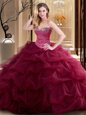 Floor Length Lace Up Vestidos de Quinceanera Burgundy and In for Military Ball and Sweet 16 and Quinceanera with Beading and Ruffles