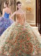 Fashionable Turquoise Ball Gowns Embroidery and Ruffles Quinceanera Gown Lace Up Fabric With Rolling Flowers Sleeveless