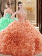 Embroidery and Ruffles and Pick Ups Quinceanera Dress Orange Lace Up Sleeveless Floor Length