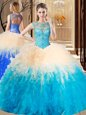 Traditional Multi-color Ball Gowns High-neck Sleeveless Tulle Floor Length Backless Beading and Ruffles Sweet 16 Dresses