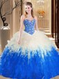 New Style Sleeveless Floor Length Embroidery and Ruffles Lace Up Vestidos de Quinceanera with Blue And White