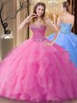 Glorious Rose Pink Lace Up Sweetheart Beading Sweet 16 Dresses Tulle Sleeveless