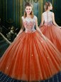 Trendy Orange Red Zipper Quinceanera Gown Lace Sleeveless Floor Length