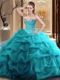 Custom Made Beading and Ruffles 15th Birthday Dress Teal Zipper Sleeveless Floor Length