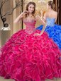 Dazzling Hot Pink Sweet 16 Quinceanera Dress Military Ball and Sweet 16 and Quinceanera and For with Beading and Ruffles Sweetheart Sleeveless Lace Up