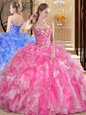 Great Organza Sweetheart Sleeveless Lace Up Embroidery and Ruffles Quinceanera Gowns in Rose Pink