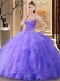 Cheap Lavender Lace Up Sweetheart Beading Sweet 16 Dresses Tulle Sleeveless