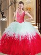 Lace and Appliques and Ruffles Quince Ball Gowns White And Red Zipper Sleeveless Floor Length