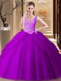 Amazing Sleeveless Tulle Floor Length Backless Sweet 16 Dress in Purple for with Appliques and Pick Ups