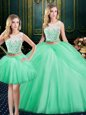 Adorable Three Piece Scoop Sleeveless Floor Length Lace and Pick Ups Lace Up Sweet 16 Dress with Apple Green