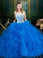Scoop Blue Zipper Quinceanera Dresses Lace and Ruffles Sleeveless Floor Length
