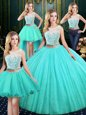 Exceptional Four Piece Sequins Scoop Sleeveless Lace Up Quinceanera Dress Blue Tulle and Sequined