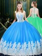 Scoop Sleeveless Zipper Floor Length Lace and Appliques Quince Ball Gowns