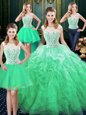 Most Popular Four Piece Scoop Organza Sleeveless Floor Length Sweet 16 Quinceanera Dress and Lace and Ruffles