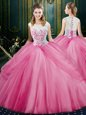 Inexpensive Scoop Sleeveless Lace and Pick Ups Zipper 15 Quinceanera Dress