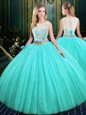 Dazzling Sequins Floor Length Blue Sweet 16 Quinceanera Dress Scoop Sleeveless Lace Up
