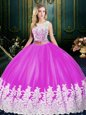 Scoop Floor Length Zipper Quinceanera Gown Fuchsia and In for Military Ball and Sweet 16 and Quinceanera with Lace and Appliques
