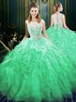 Gorgeous Scoop Green Sleeveless Brush Train Appliques and Ruffles Quinceanera Gown