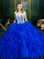 Flirting Floor Length Royal Blue 15th Birthday Dress Scoop Sleeveless Zipper
