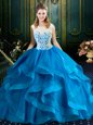 Lovely Scoop Blue Ball Gowns Lace 15 Quinceanera Dress Zipper Tulle Sleeveless With Train