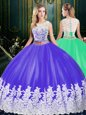 Tulle Scoop Sleeveless Zipper Lace and Appliques Sweet 16 Quinceanera Dress in Purple