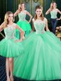 Four Piece Scoop Sleeveless Floor Length Lace and Pick Ups Zipper Quinceanera Dresses with Apple Green