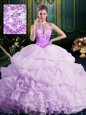 Superior Halter Top Pick Ups Lavender Sleeveless Organza Brush Train Lace Up 15th Birthday Dress for Military Ball and Sweet 16 and Quinceanera