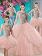 On Sale Four Piece Peach Ball Gowns Scoop Sleeveless Tulle Floor Length Lace Up Beading and Appliques Ball Gown Prom Dress