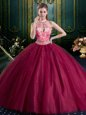 Sweet Halter Top Burgundy Lace Up High-neck Beading and Lace and Appliques Quinceanera Gowns Tulle Sleeveless