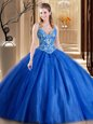Floor Length Lace Up Quinceanera Dresses Blue and In for Military Ball and Sweet 16 and Quinceanera with Beading and Appliques