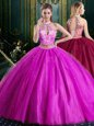 Dynamic Halter Top Fuchsia Two Pieces High-neck Sleeveless Tulle Floor Length Lace Up Beading and Lace and Appliques Ball Gown Prom Dress