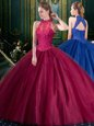 Sleeveless Lace Up Floor Length Appliques Quince Ball Gowns