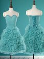 Exceptional Turquoise A-line Organza Sweetheart Sleeveless Beading and Ruffles Mini Length Lace Up Prom Dress