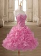 Pink Sleeveless Mini Length Beading and Ruffles Lace Up Prom Dress