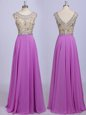 Enchanting Lilac Dress for Prom Prom and Party and For with Beading Scoop Sleeveless Zipper