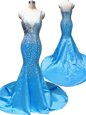 Mermaid Baby Blue Sleeveless With Train Beading Zipper Prom Dresses