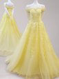 Yellow A-line Off The Shoulder Cap Sleeves Tulle Lace Up Beading and Appliques Oscars Dresses