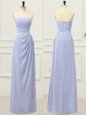 Glorious Floor Length Empire Sleeveless Lavender Dress for Prom Zipper