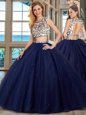 Scoop Navy Blue Tulle Backless Sweet 16 Dresses Cap Sleeves With Brush Train Beading