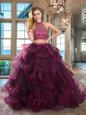 Scoop Cap Sleeves Beading and Ruffles Backless Quinceanera Gowns