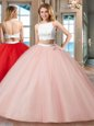 Glorious Floor Length Pink 15th Birthday Dress Straps Sleeveless Backless