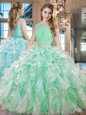 Sleeveless Lace Up Floor Length Lace and Ruffles 15th Birthday Dress