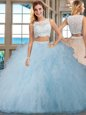 Sleeveless Tulle Floor Length Side Zipper Quinceanera Dress in Light Blue for with Beading and Ruffles