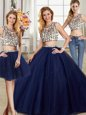 Trendy Three Piece Scoop Navy Blue Tulle Backless Quinceanera Dresses Cap Sleeves With Brush Train Beading