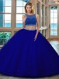 Charming Scoop Backless Royal Blue Sleeveless Beading Floor Length 15 Quinceanera Dress